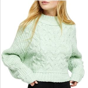 New free people carousel sweater mint green L